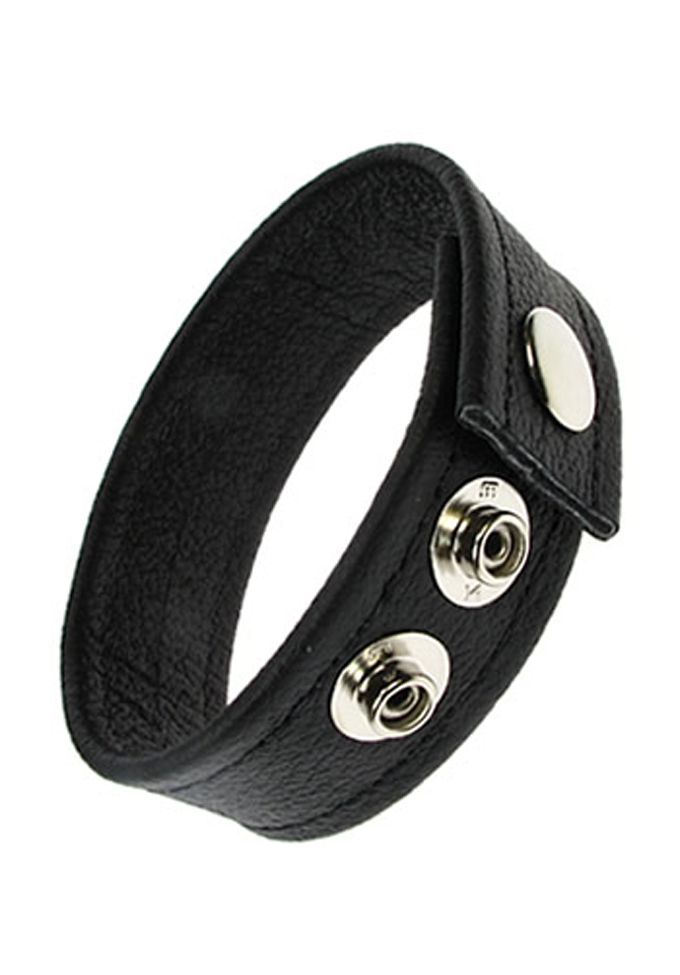 3 Snap Leather Cock Ring Black/Black