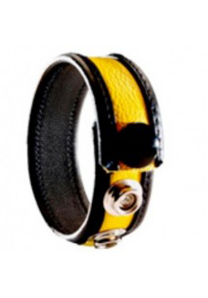 3 Snap Leather Cock Ring Black/Yellow