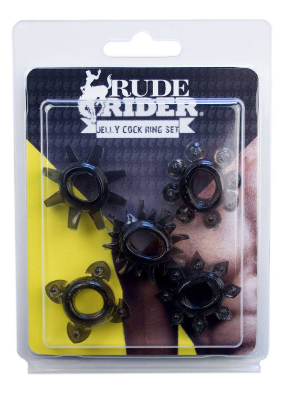 Rude Rider: Jelly Cock Ring 5-Star-Set