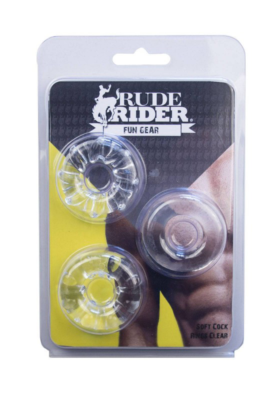 Rude Rider: Soft Cock Rings 3-Pack - clear