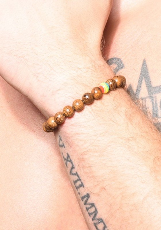 Andrew Christian brown Pride Wood Energy Bracelet