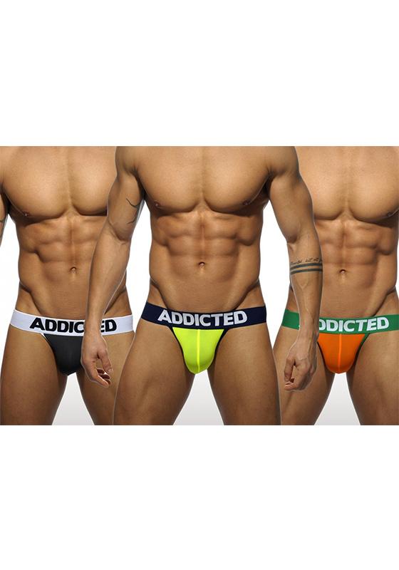 Addicted 404P Black/Neon/Orange Light Jock 3-Pack