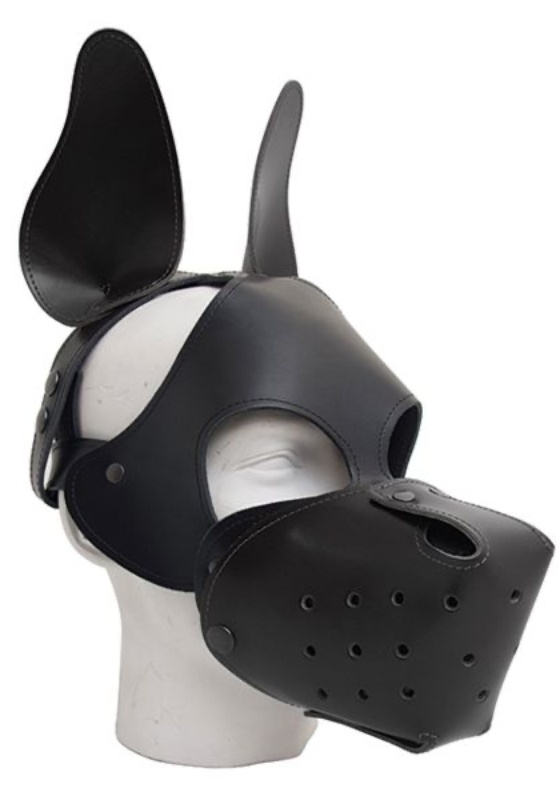 Mr. B: black Leder Shaggy Dog Hood Maske