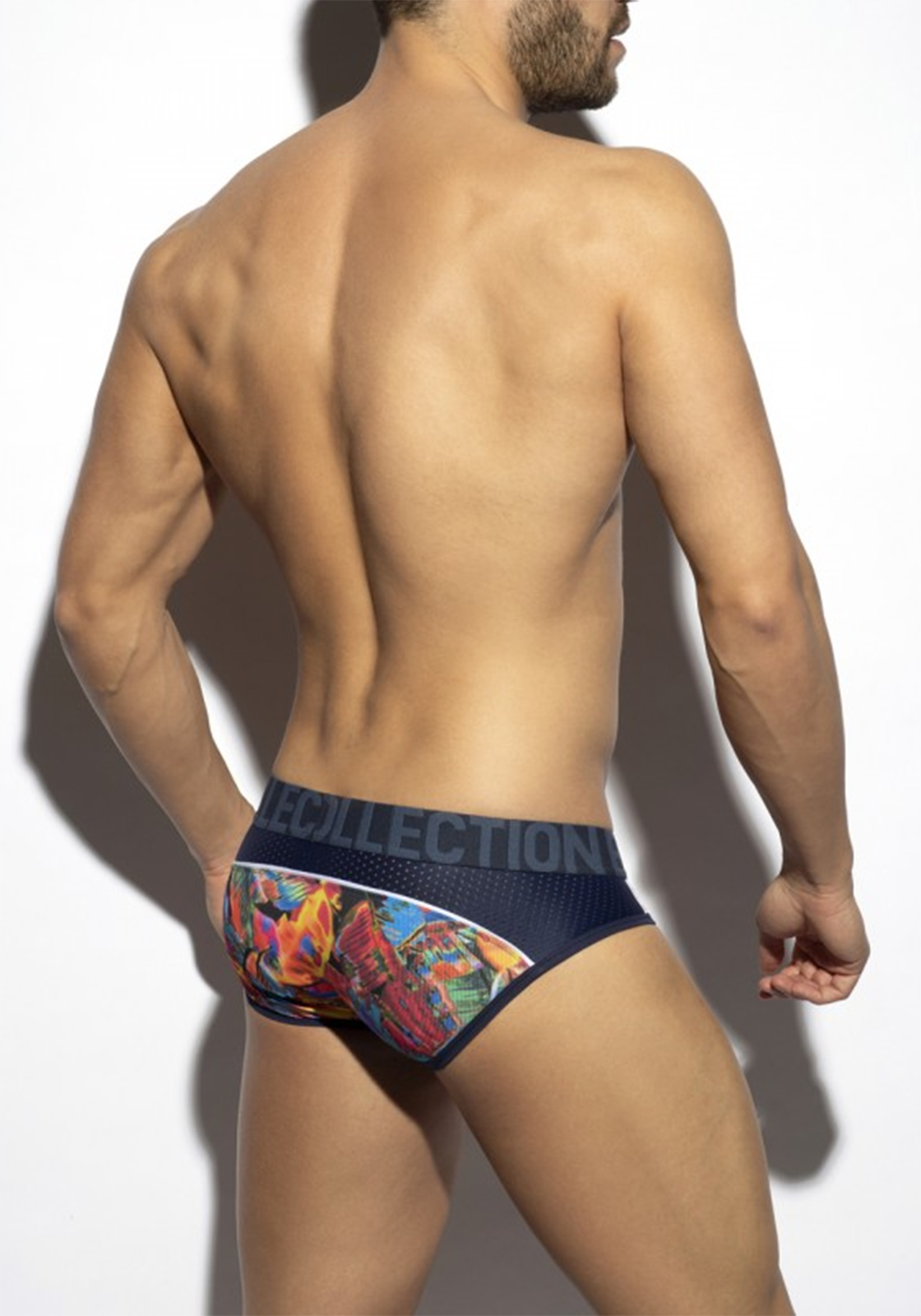 ES Collection Floral Mesh Brief | Navy