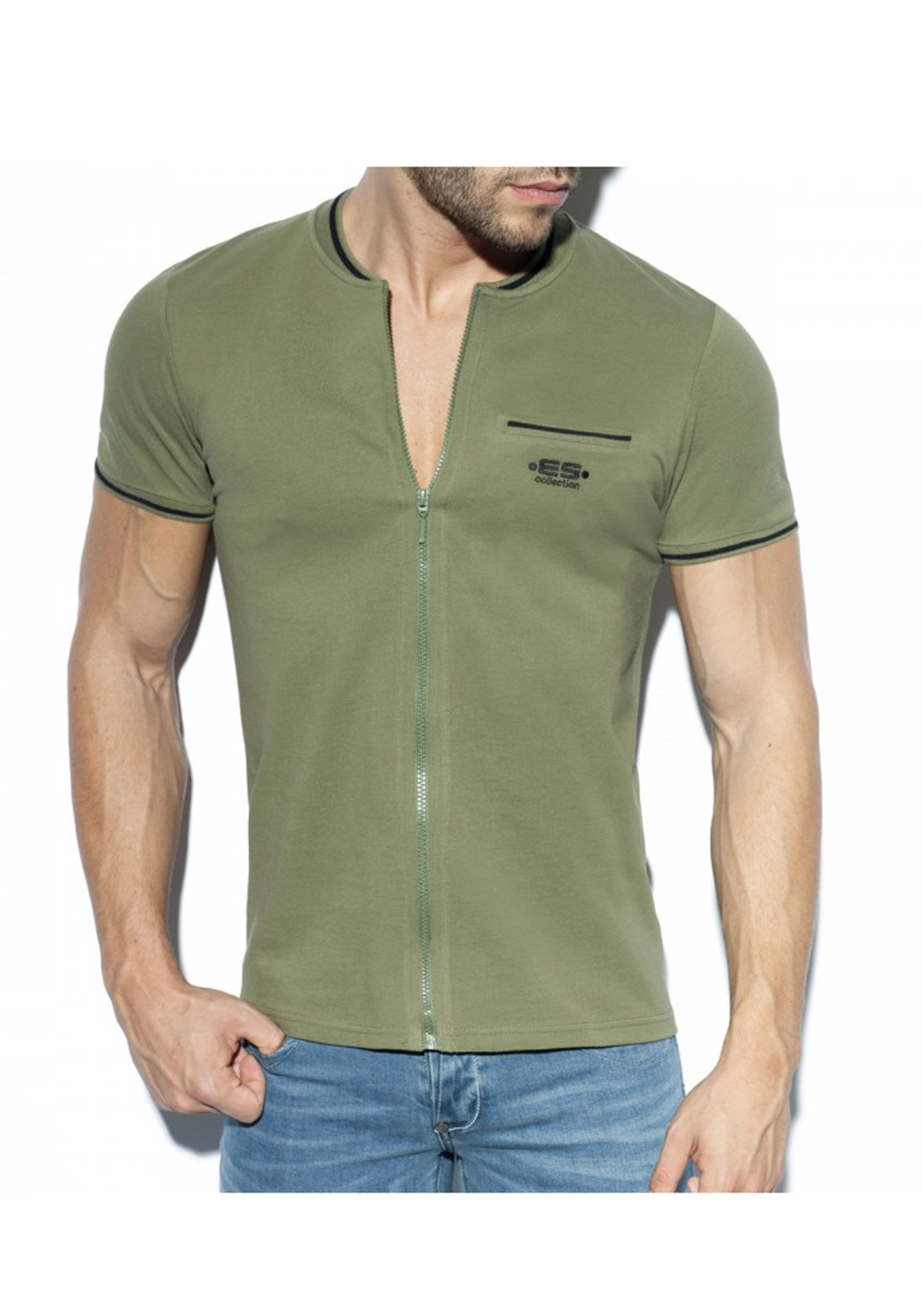 ES Collection Full Zip Mao Polo | Khaki