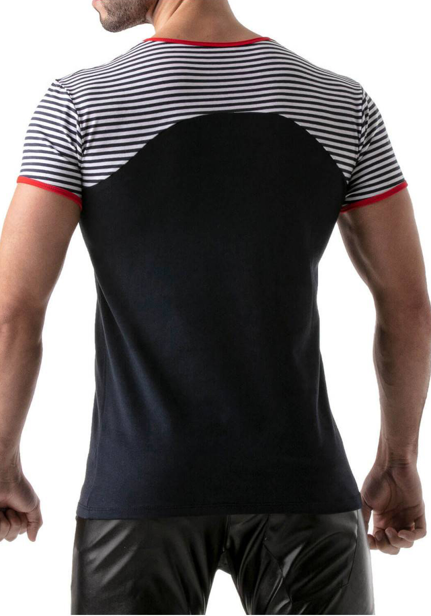 TOF T-Shirt Navy Stripes   Red