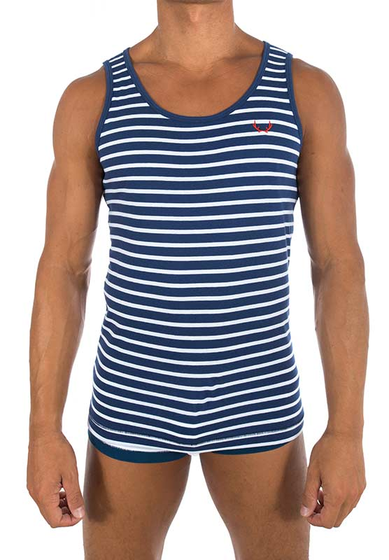 Bluebuck VE-NWS Navy Vest White Stripes