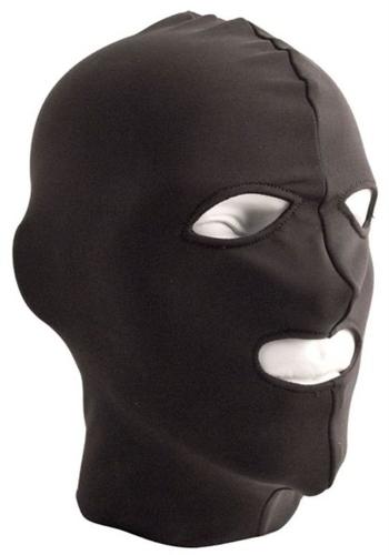 Mr. B: black Lycra Hood Eyes & Mouth Open Maske
