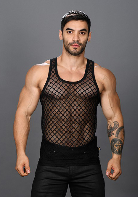 Andrew Christian Lattice Lace Sheer Tank Top
