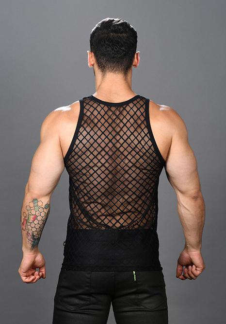 Andrew Christian Lattice Lace Sheer Tank Top