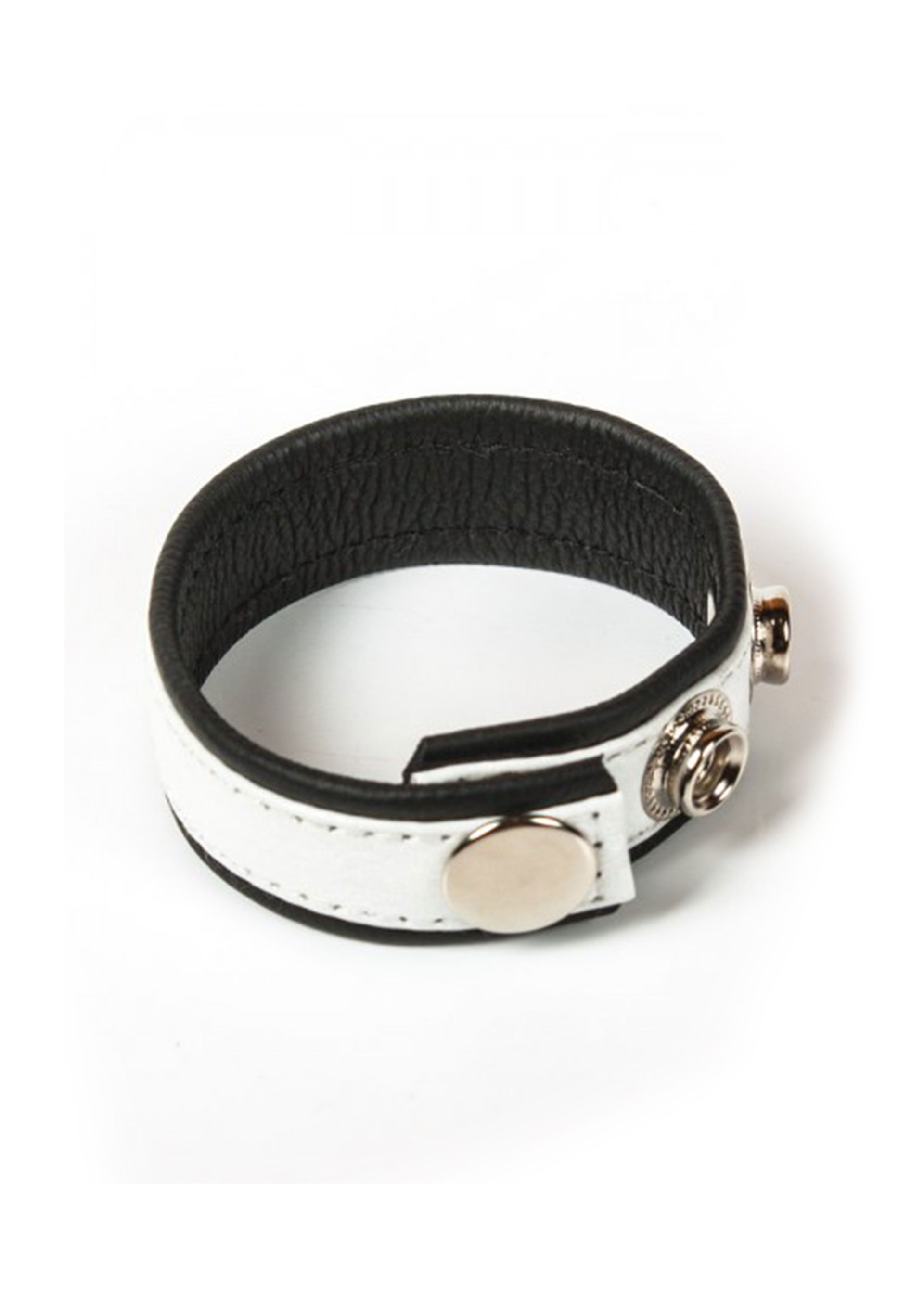3 Snap Leather Cock Ring Black/White