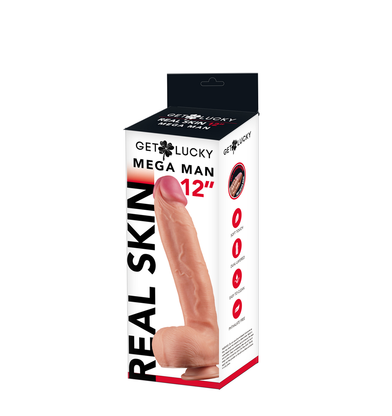 Get Lucky: flesh Real Skin Dildo 12''