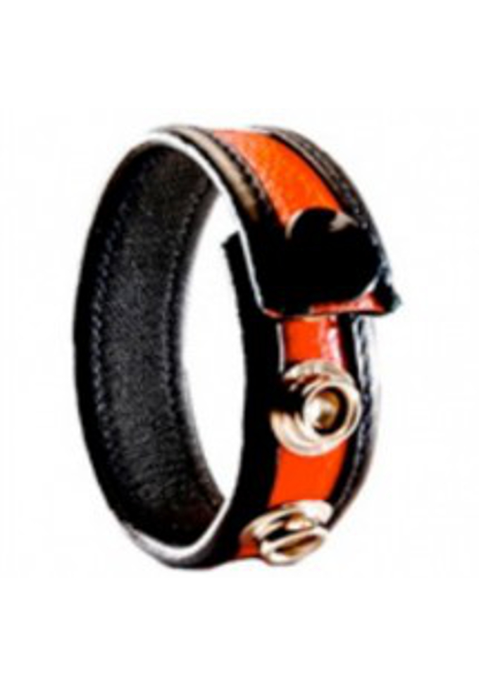 3 Snap Leather Cock Ring Black/Red