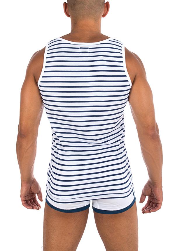 Bluebuck VE-WNS white Vest Navy Stripes