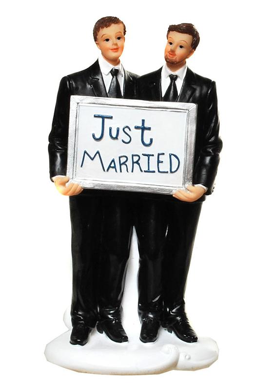 Hochzeitspaar Männer mit Schild