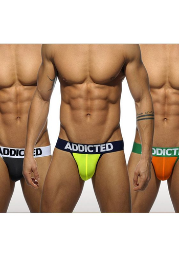 Addicted 404P Black/Neon/Orange Light Jock 3-Pack