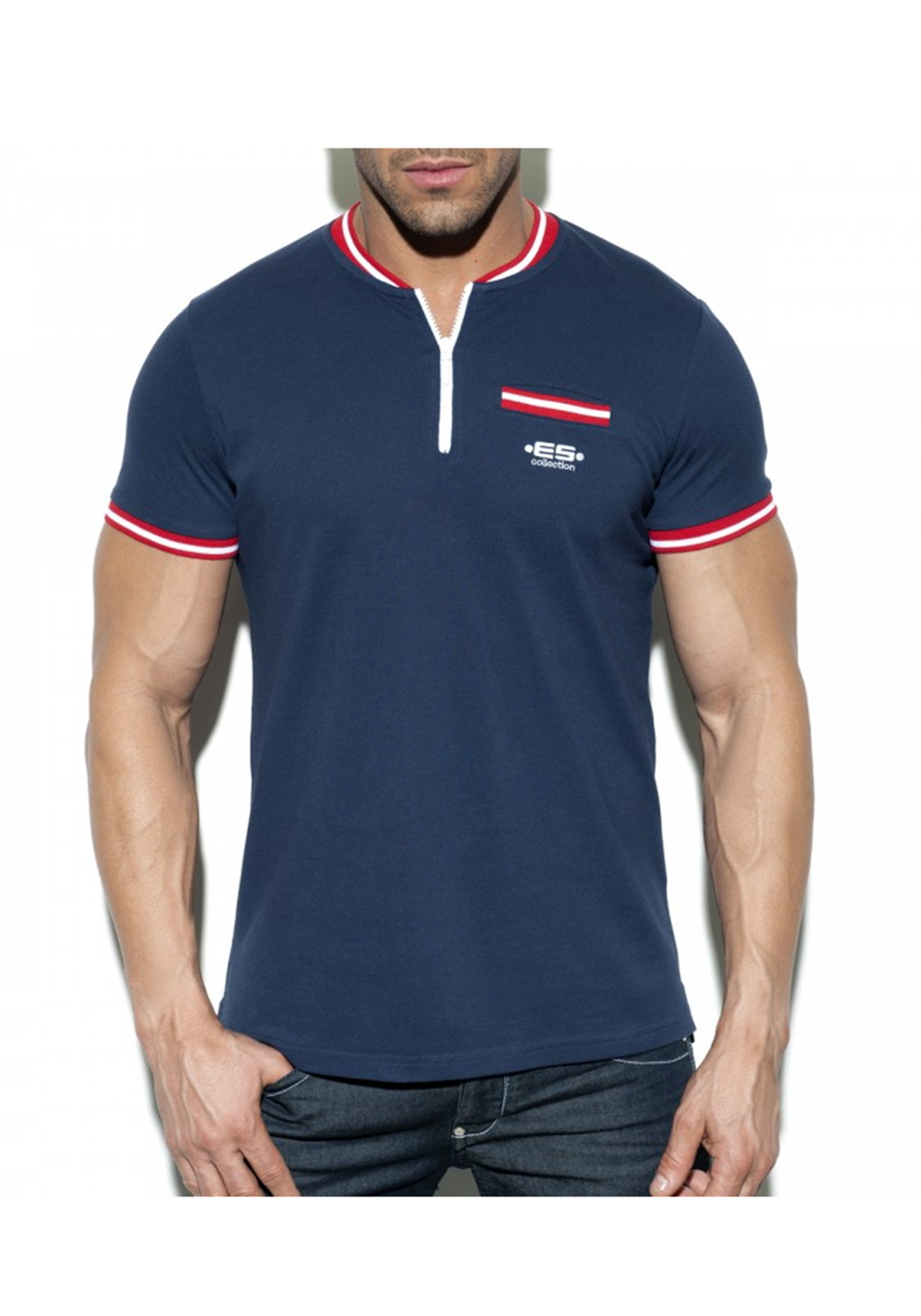 ES Collection Short Zip Mao Polo | Navy