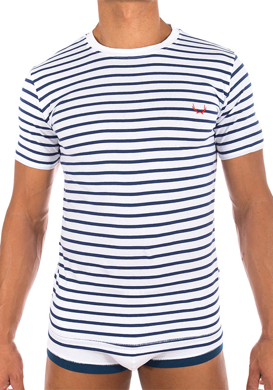 Bluebuck TS-WN White T-Shirt Navy Stripes