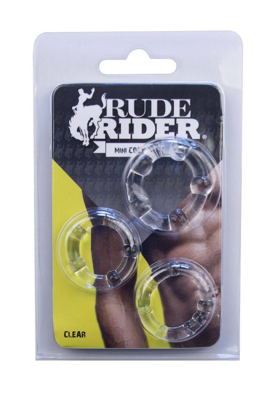 Rude Rider: Mini Cock Rings 3-Pack - clear