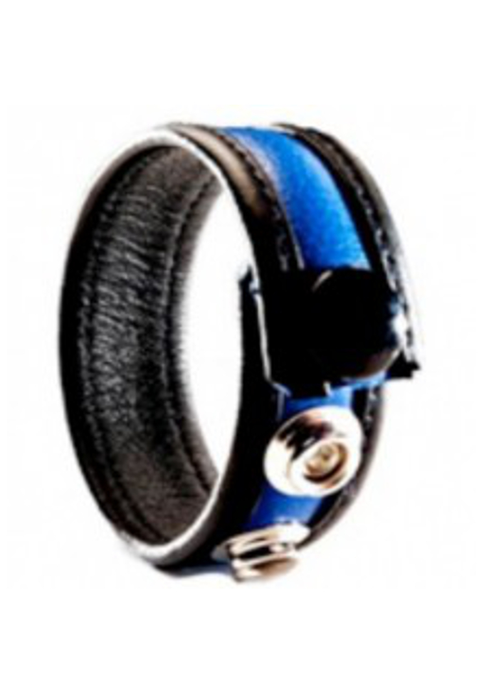 3 Snap Leather Cock Ring Black/Blue