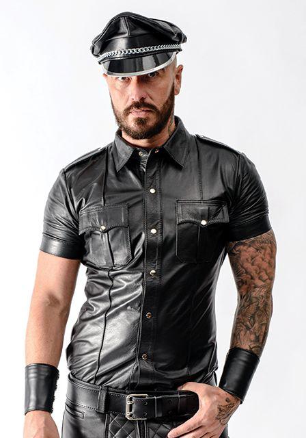 Mister B Police Shirt Leder Kurzarm