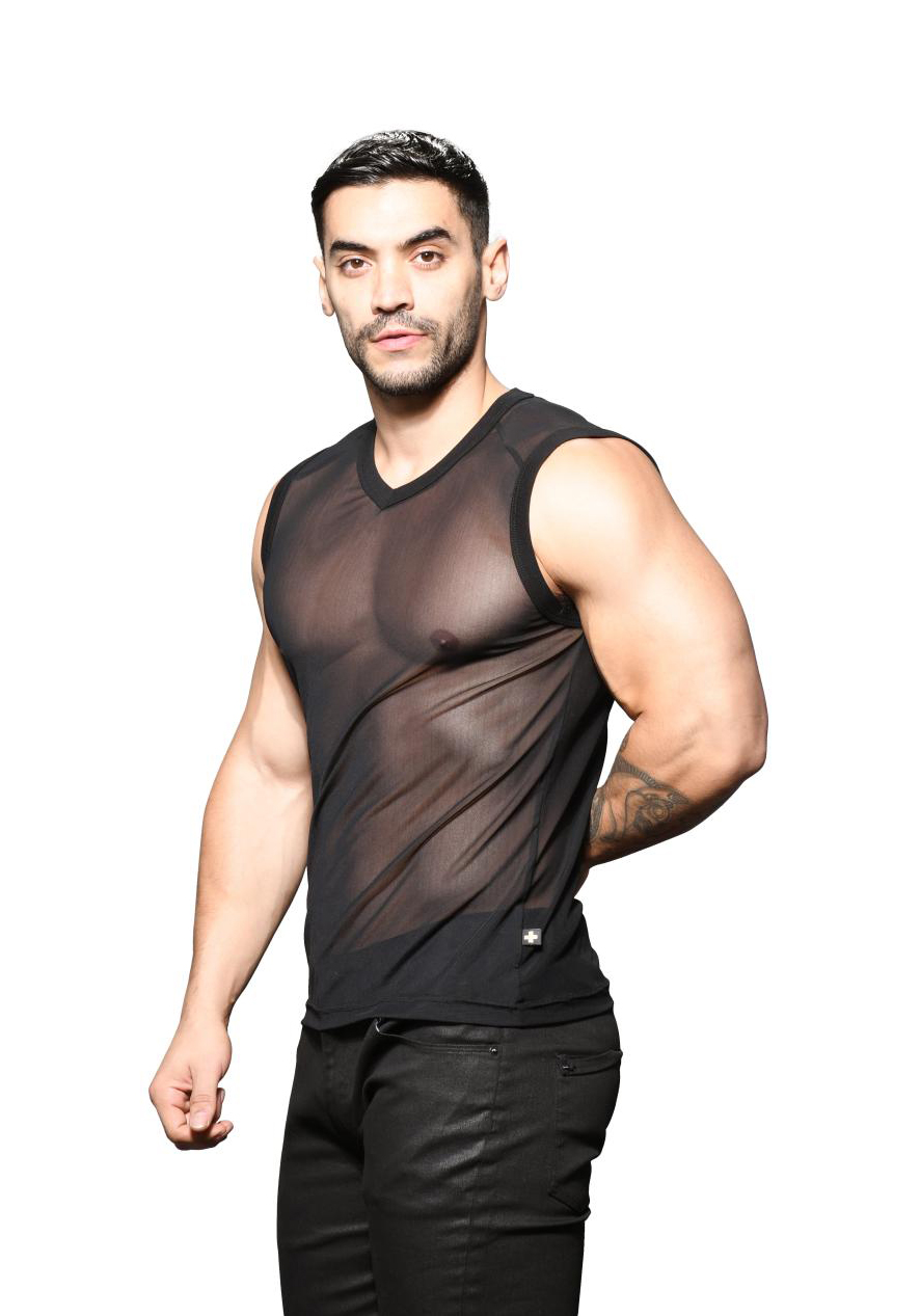 Andrew Christian Sexy Sheer Sleeveless V-Neck