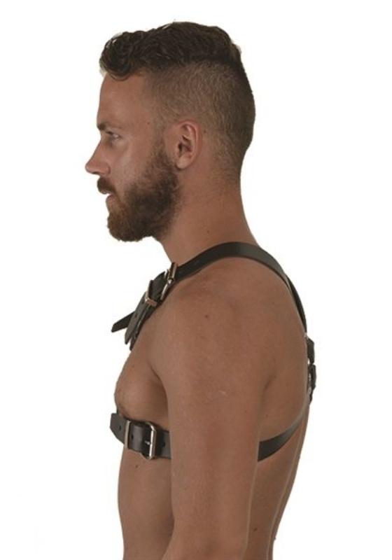 Mr. B: black Leder Y-Front Harness
