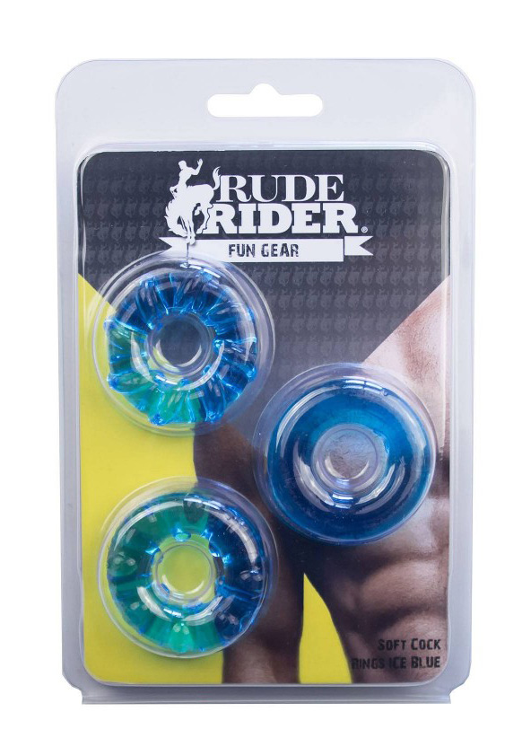 Rude Rider: Soft Cock Ringe 3-Pack - ice blue
