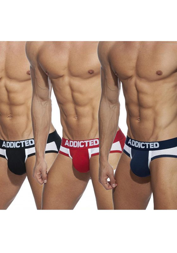 Addicted 845 Black/Red/Navy Combi Mesh Brief 3-Pack